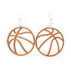 basketball wood earrings