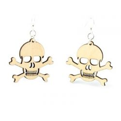 Natural wood skull and crossbone earrings