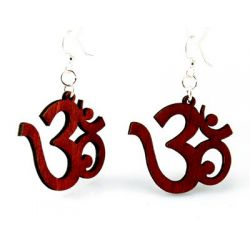 Red ohm wood earrings