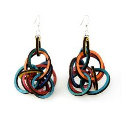 Interlocking ring earrings