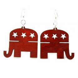 republican elephant wood earrings