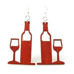 Cherry red wine bottle and glass earrings