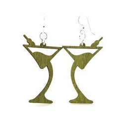 martini wood earrings