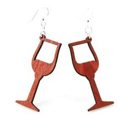cherry red wine wood glass earrings