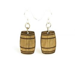 Barrel wood earrings