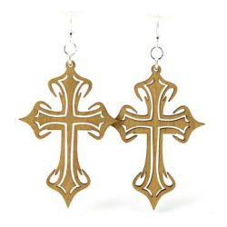 Tan cross wood earrings