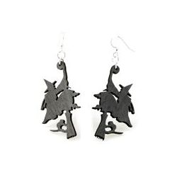 witch on broomstick wood earrings