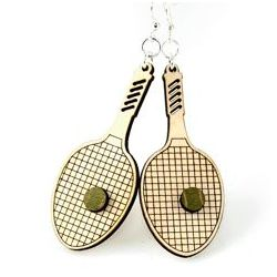tennis racquet wood earrings