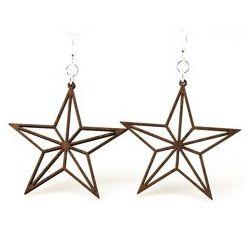 Brown nautical star outline earrings