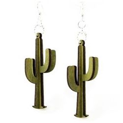 Green 3d cacti wood earrings