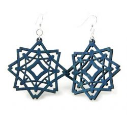 Royal blue diamond snowflake wood earring