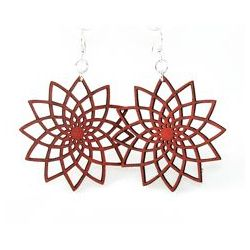 red star flower earrings
