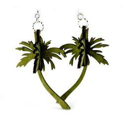 green 3d palm tree earrings