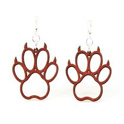 Cherry red bear claw wood earrings