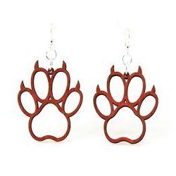 Cherry red bear claw wood earrings