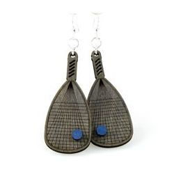 racquet ball on racquet wood earrings