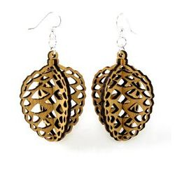 pine cone wood earrings