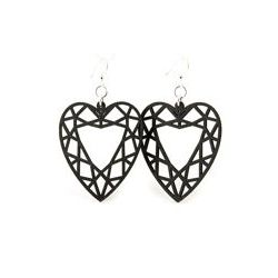Black guarded heart wood earrings