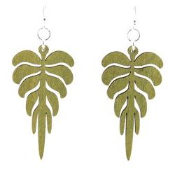 Apple Green pine leaf wood earrings