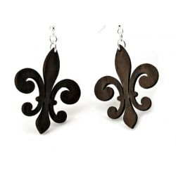 Brown regular fleur de lis earrings
