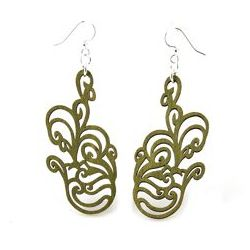 Green jumbled flower wood earrings