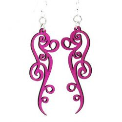 Pink Ornate Scroll Design Wood Earrings
