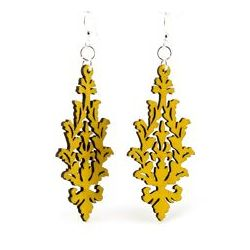 Yellow Leaf Cluster Wood Earrings