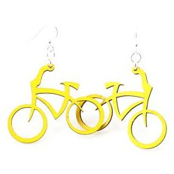 Yellow bicycle earrings