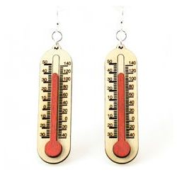 Red Thermometer Wood Earrings