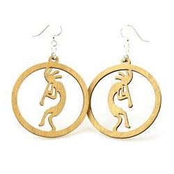 Tan kokopelli in a circle wood earrings