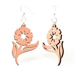 Pink Spring Flower Wood Earrings