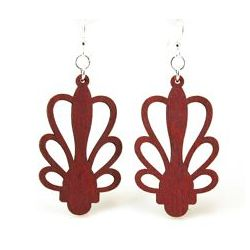 Cherry red planter design wood earrings