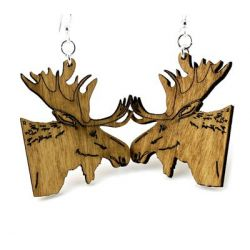 Tan Moose wood earrings