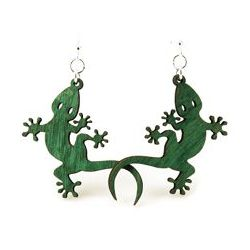 Green gecko wood earrings