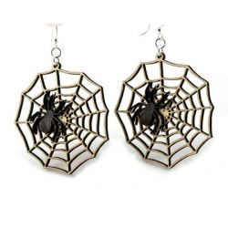 spider web wood earrings