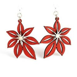 Poinsettia wood earrings