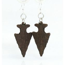 Brown arrow head wood earrings