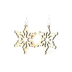 Natural wood cloudy snowflake wood earrings