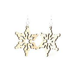 Natural wood cloudy snowflake wood earrings