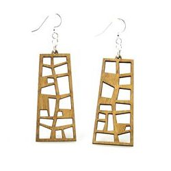 Tan pearl harbor museum window design wood earrings