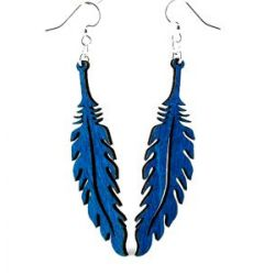 blue feather wood earrings