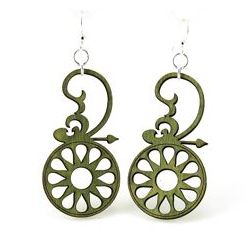 Green spindle wood earrings