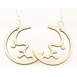 natural wood moon earrings