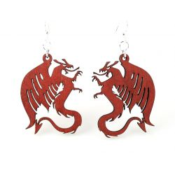 Cherry Red Dragon Wood Earrings