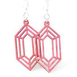 Pink diamond gem wood earrings