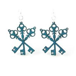 Teal Tri Key wood earrings