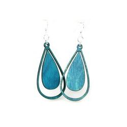aqua marine water droplet wood earrings
