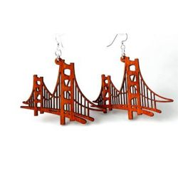 golden gate bridge wood earrings