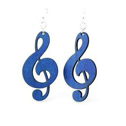 royal blue treble clef earrings