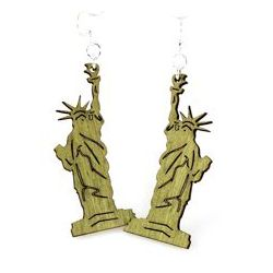 green statue of liberty wood earrings